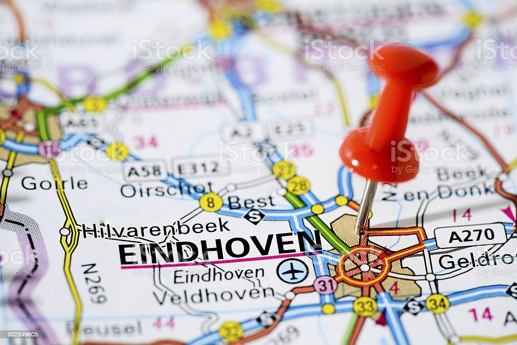 European cities on map series: Eindhoven stock photo