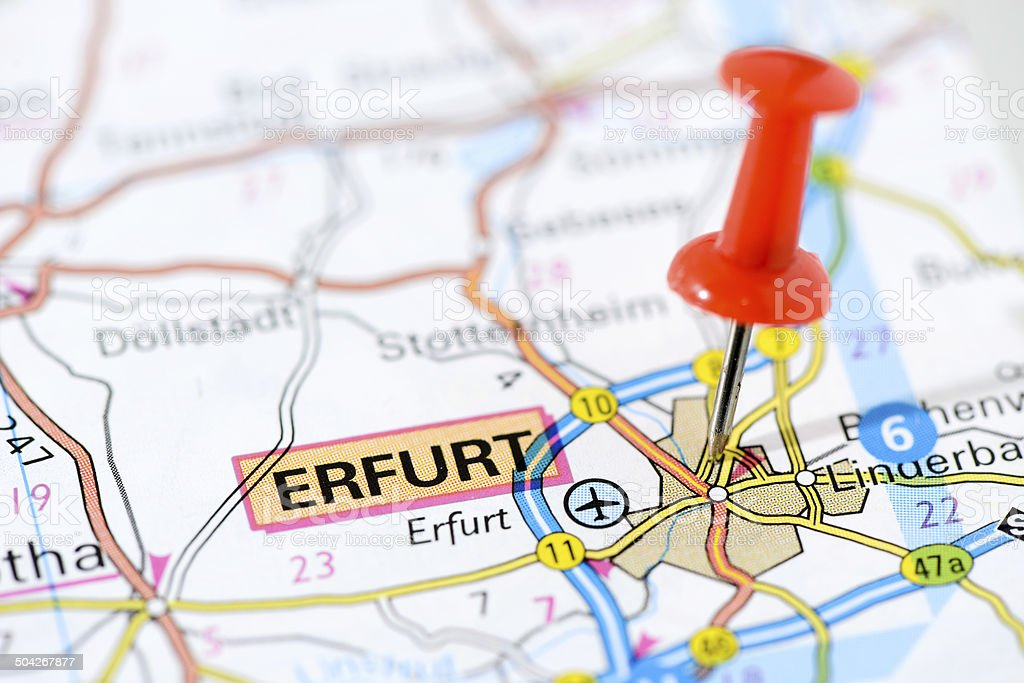 European cities on map series: Erfurt stock photo