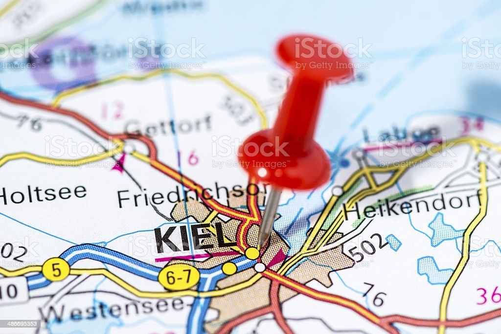 European cities on map series: Kiel stock photo