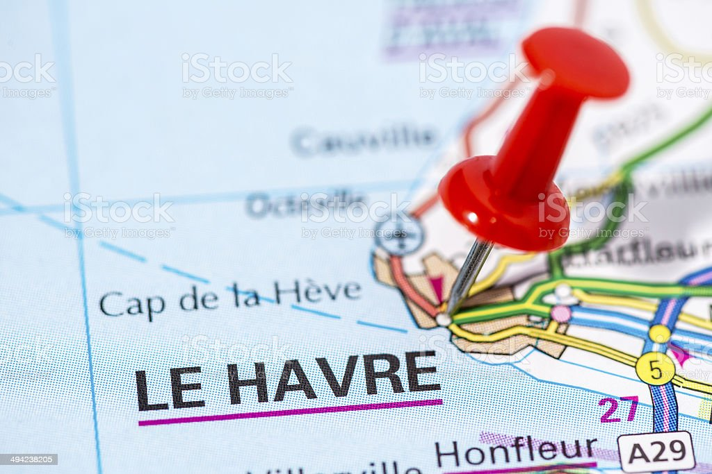 European cities on map series: Le Havre stock photo