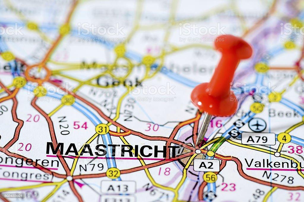 European cities on map series: Maastricht stock photo