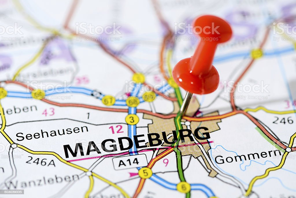 European cities on map series: Magdeburg stock photo