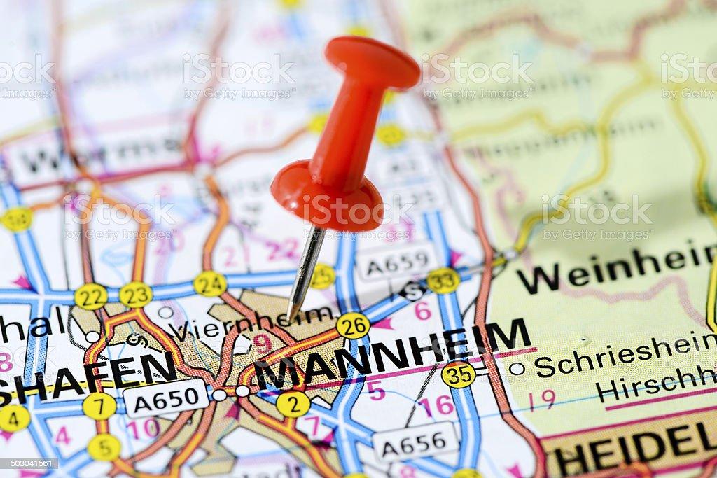 European cities on map series: Mannheim stock photo