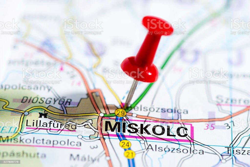 European cities on map series: Miskolc stock photo