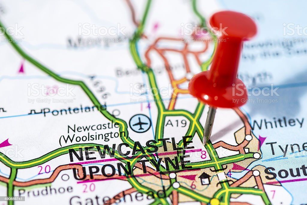 European cities on map series: Newcastle upon Tyne stock photo