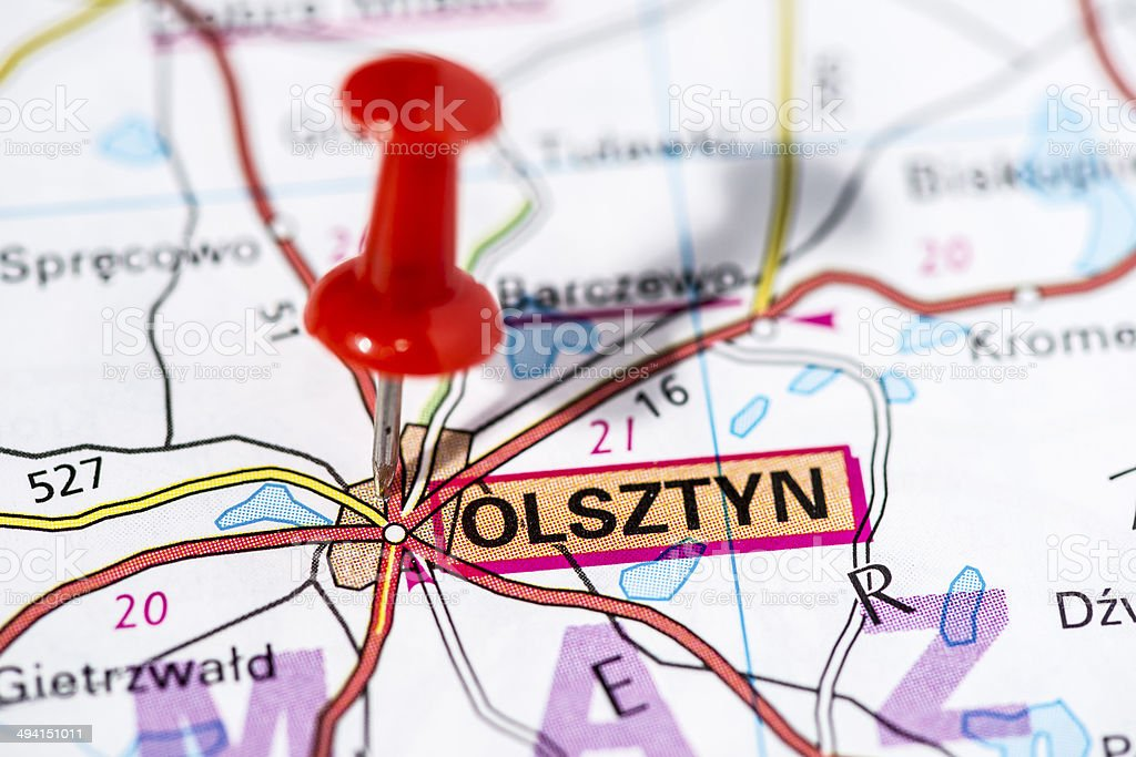 European cities on map series: Olsztyn royalty-free stock photo