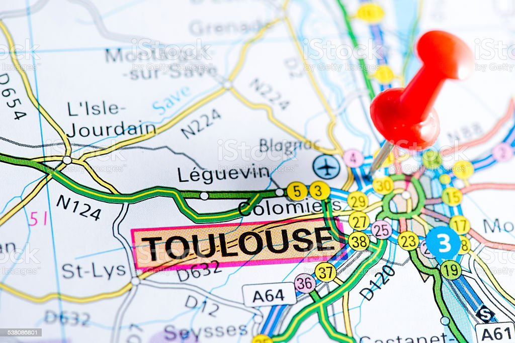 European cities on map series: Toulouse stock photo