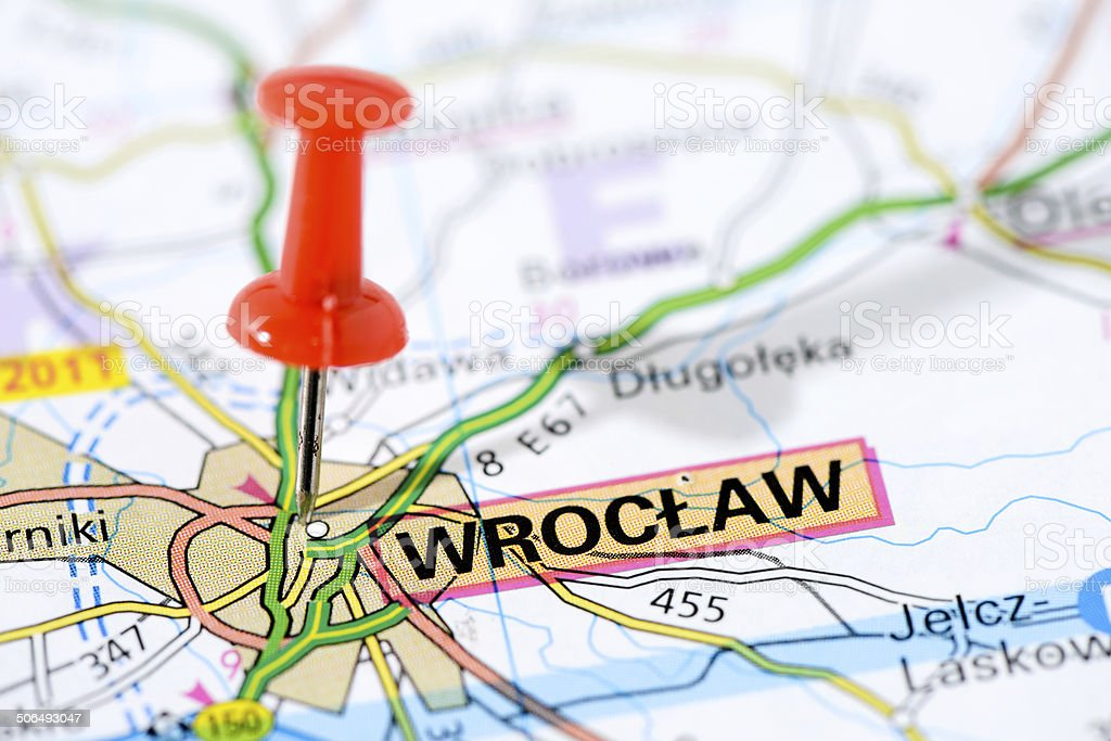 European cities on map series: Wroclaw royalty-free stock photo