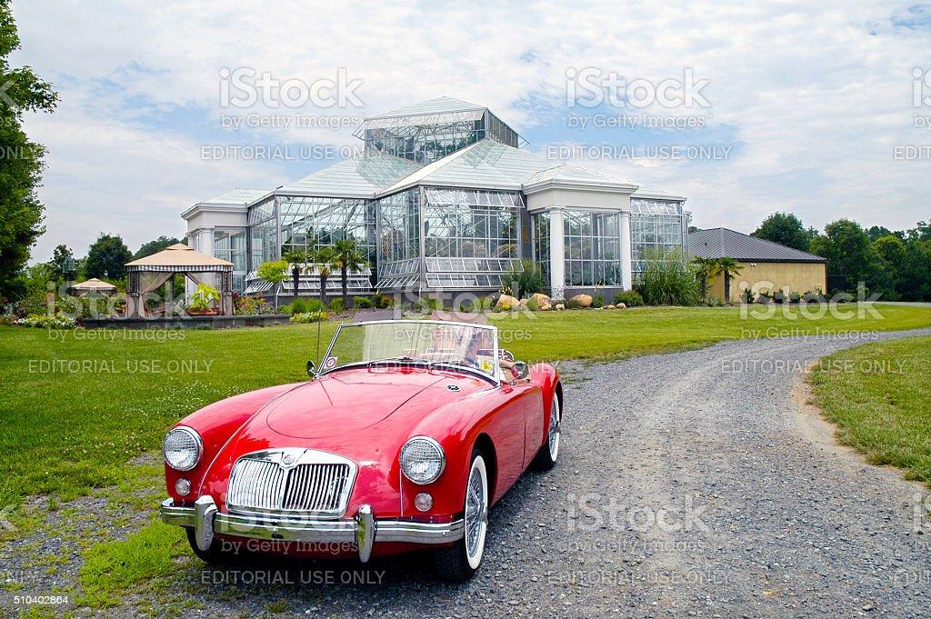European Classic Sports Car--Red MG stock photo