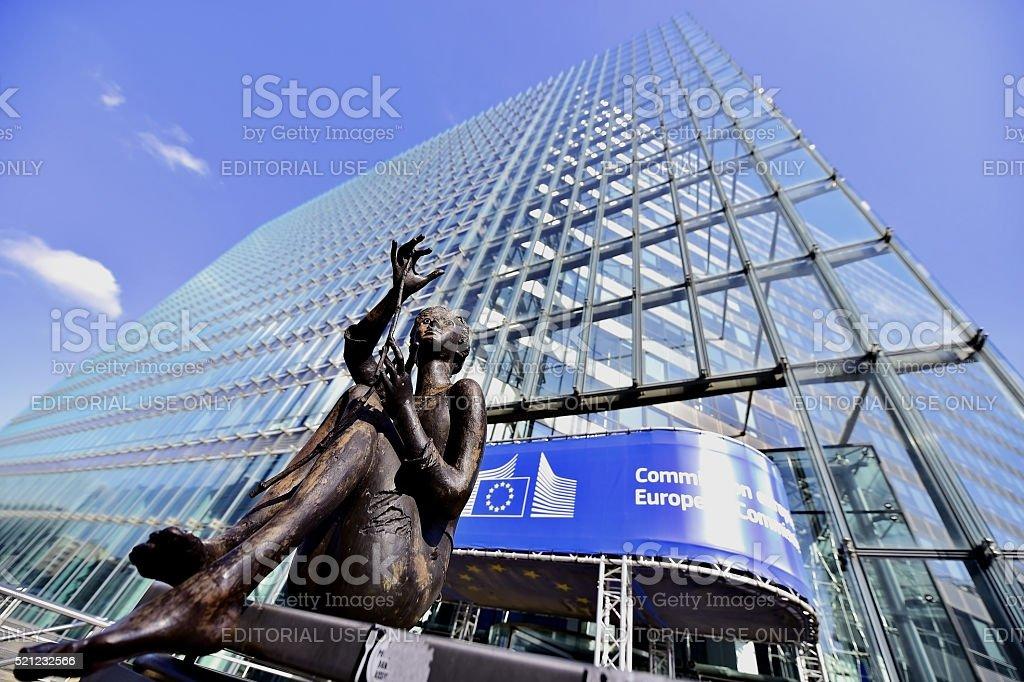 European Commission Headquarters statues stock photo