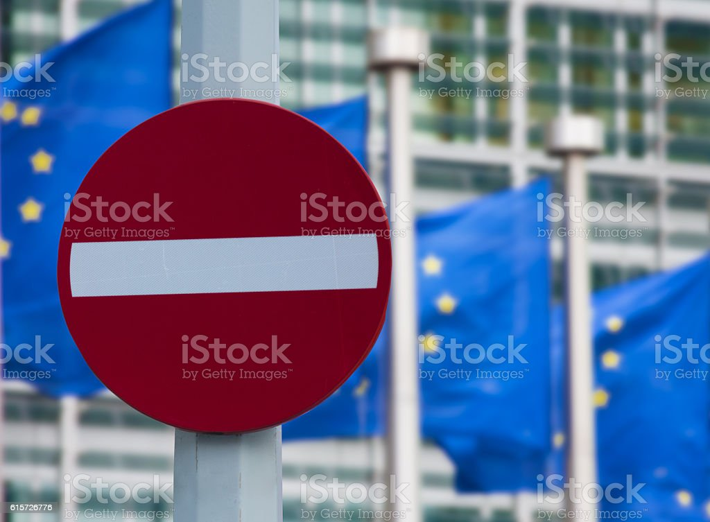 European commission sanctions against Russia concept stock photo