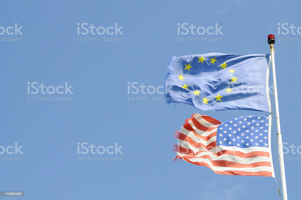 European Community and United States flags royalty-free stock photo