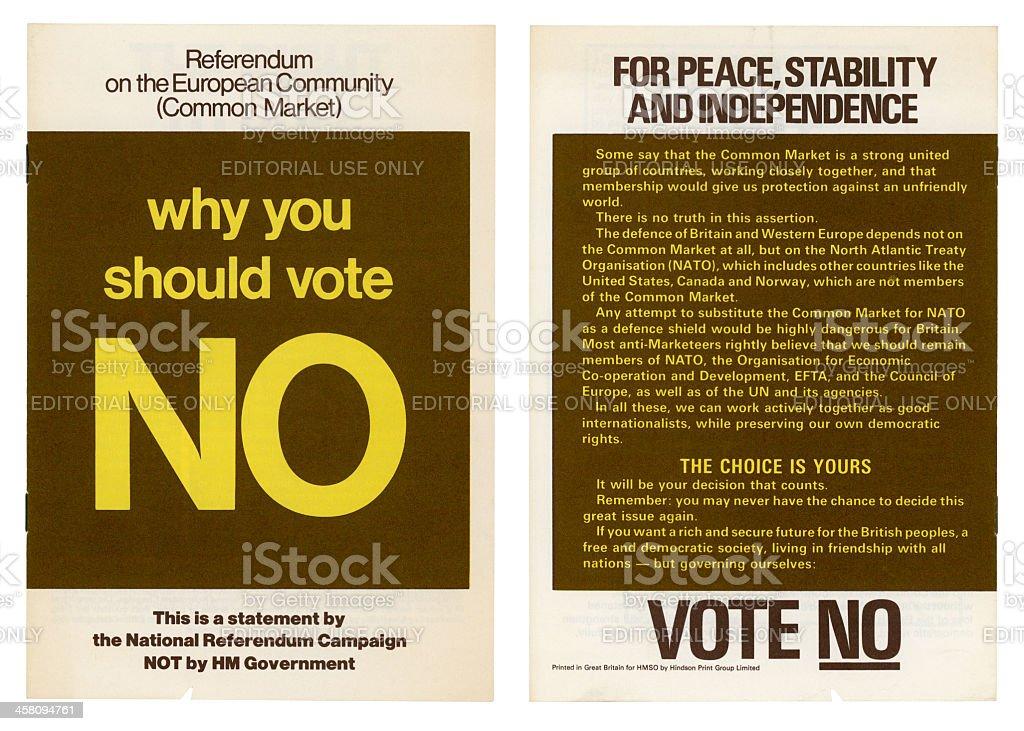 'European Community British 'No' vote campaign, 1975' stock photo