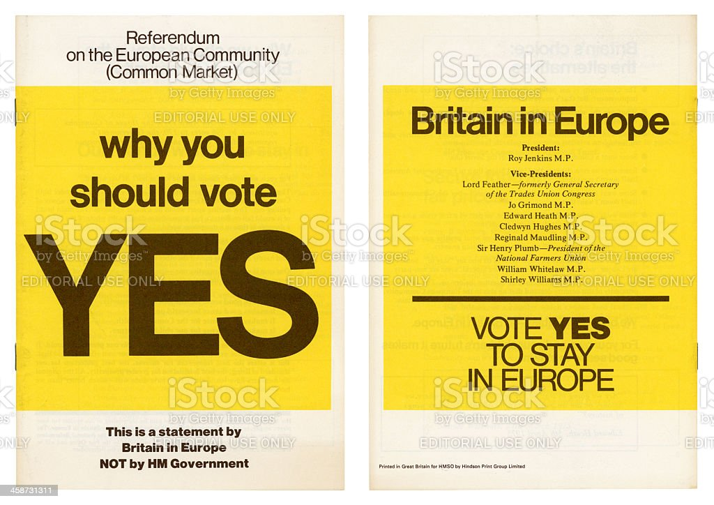 European Community British 'Yes' vote campaign 1975 royalty-free stock photo