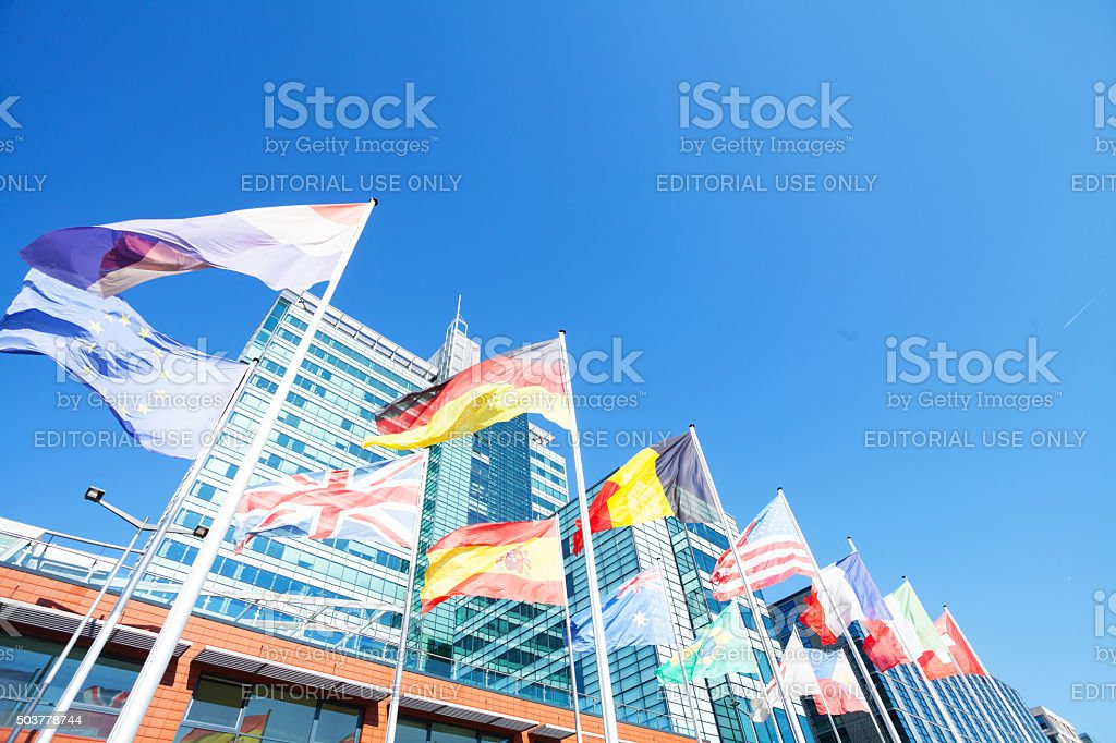 European countries flags and UP building in Amsterdam stock photo