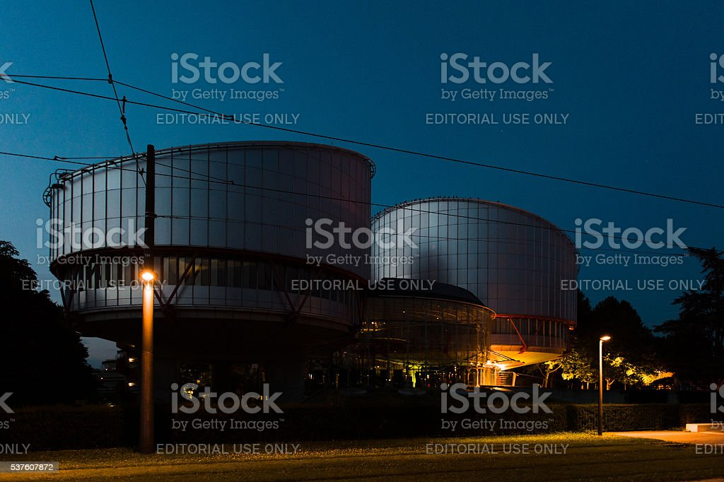 European Court of Human rights at night stock photo