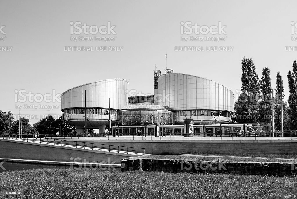 European Court of Human Rights building - black and white stock photo