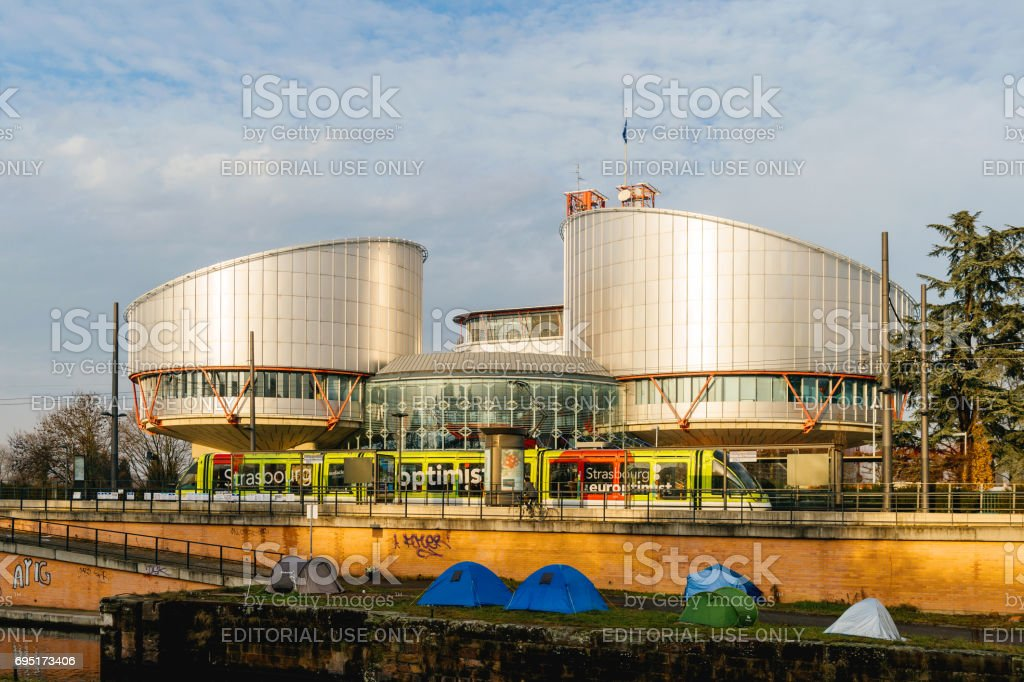 European Court of Human Rights with protesters tents stock photo