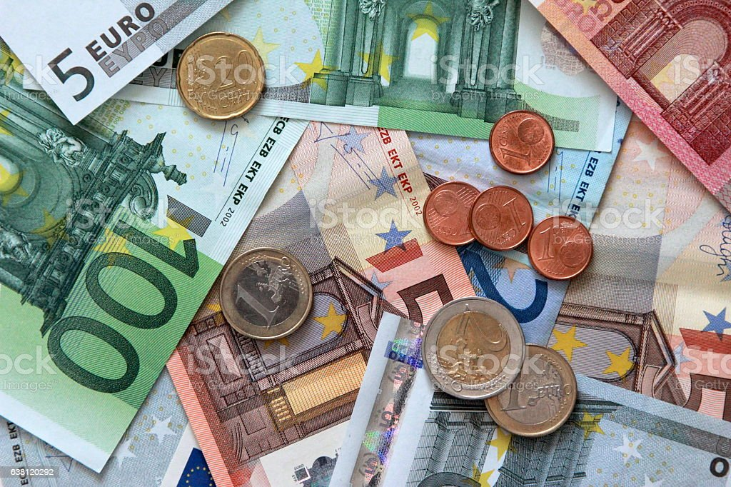 European currency background stock photo