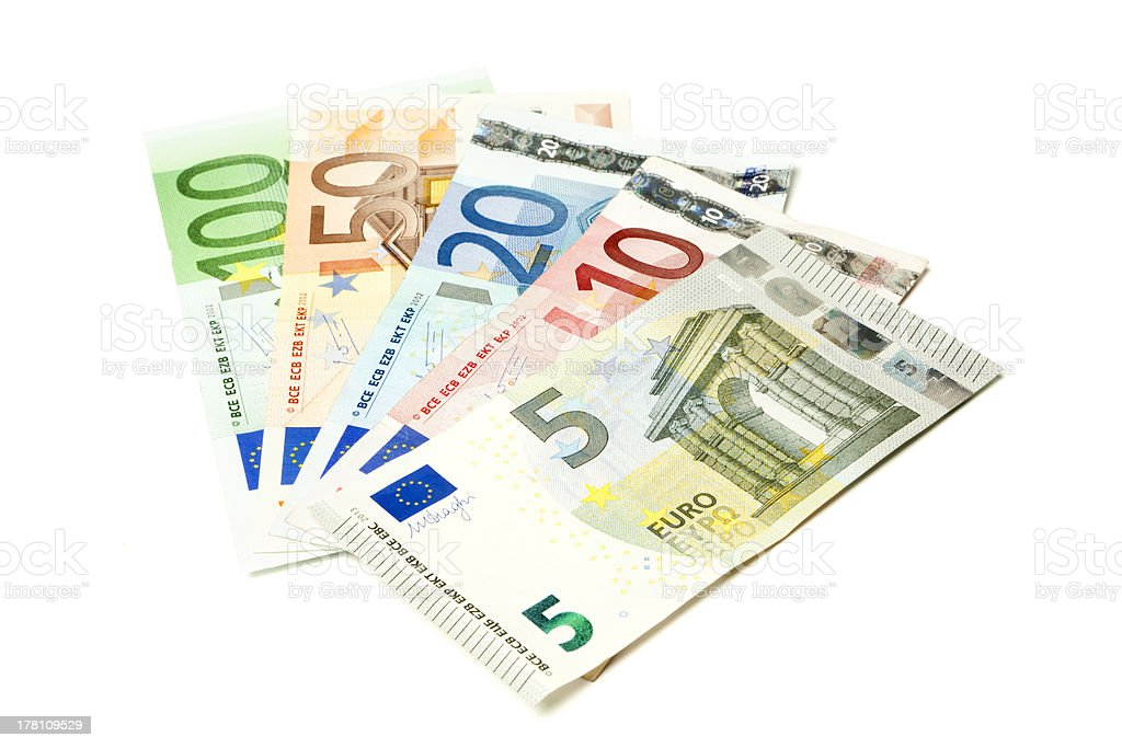 European currency bills fanned out royalty-free stock photo