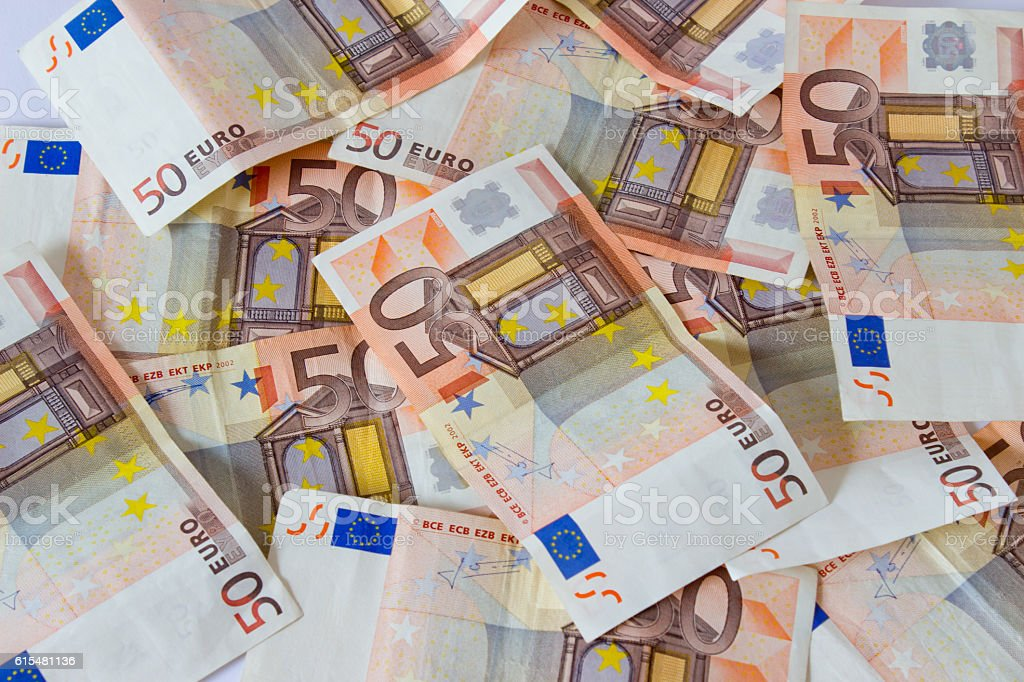 European currency money euro banknotes bill. Close-up stock photo