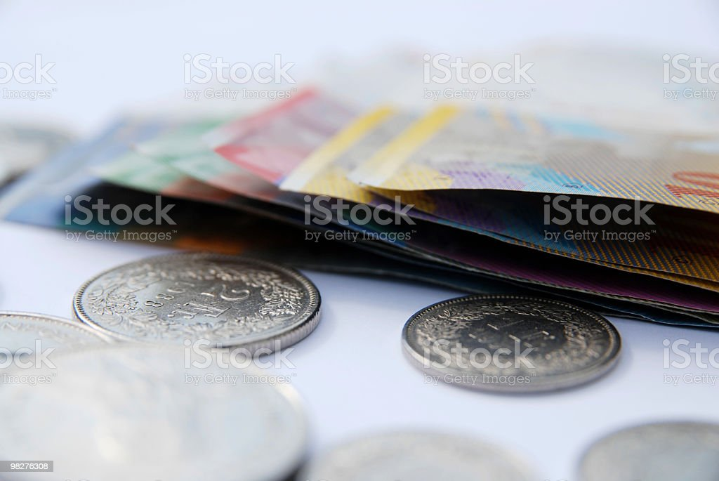 European currency swiss francs stock photo