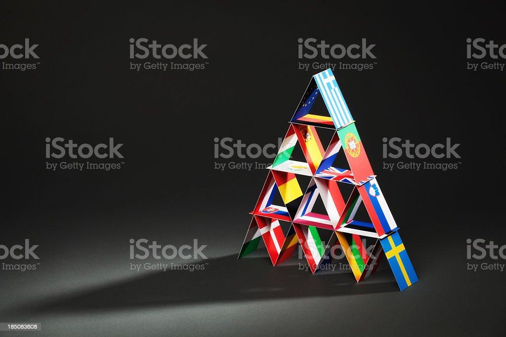 European Debt Crisis House of Cards Hz stock photo