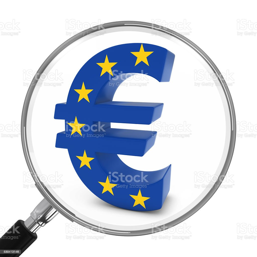European Finance Concept - EU Euro Symbol Under Magnifying Glass stock photo