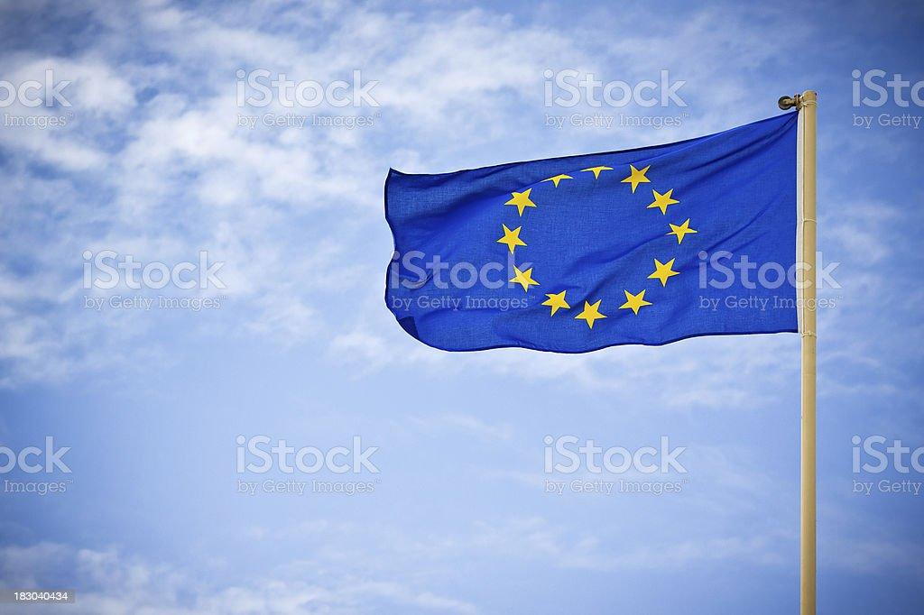 European Flag against Blue Sky stock photo