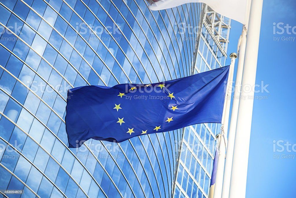 European flag against skyscraper stock photo