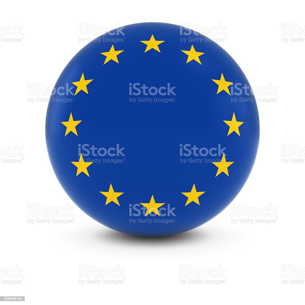 European Flag Ball - Flag of Europe on Isolated Sphere stock photo