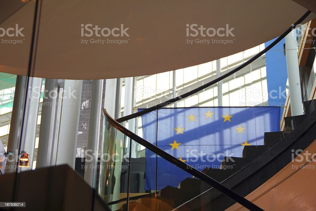 European flag in a modern office building royalty-free stock photo