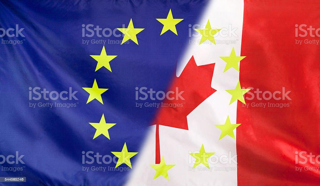European Flag merged with Canada Flag stock photo
