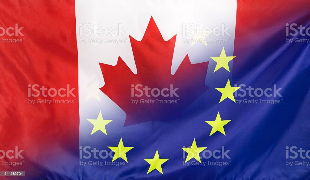 European Flag merged with Flag of Canada stock photo