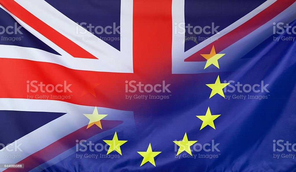 European Flag merged with Flag of Great Britain stock photo