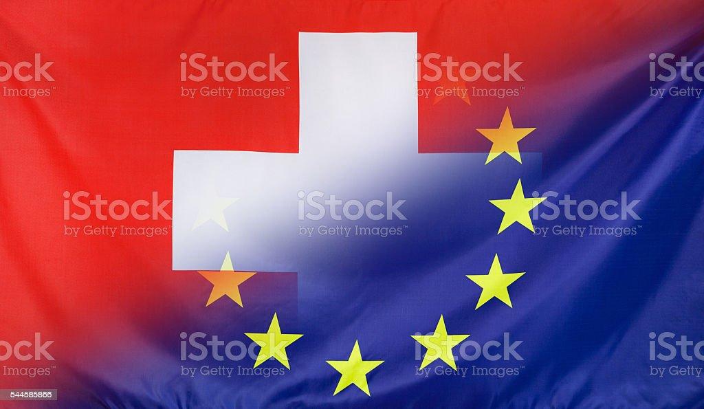 European Flag merged with Flag of Switzerland stock photo