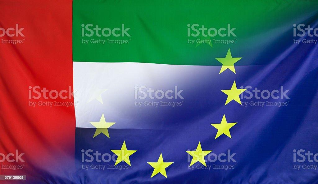 European Flag merged with Flag of UAE stock photo