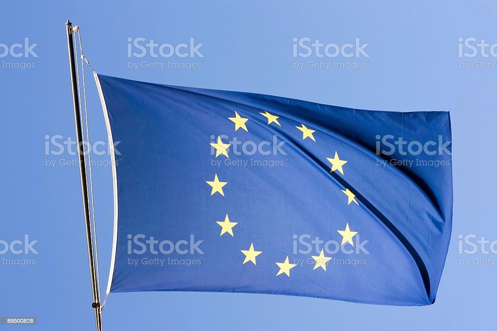 European flag on a blue sky. royalty-free stock photo
