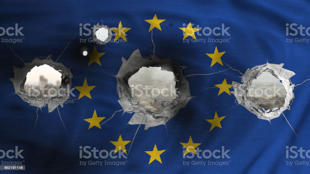 European flag with bullet holes stock photo