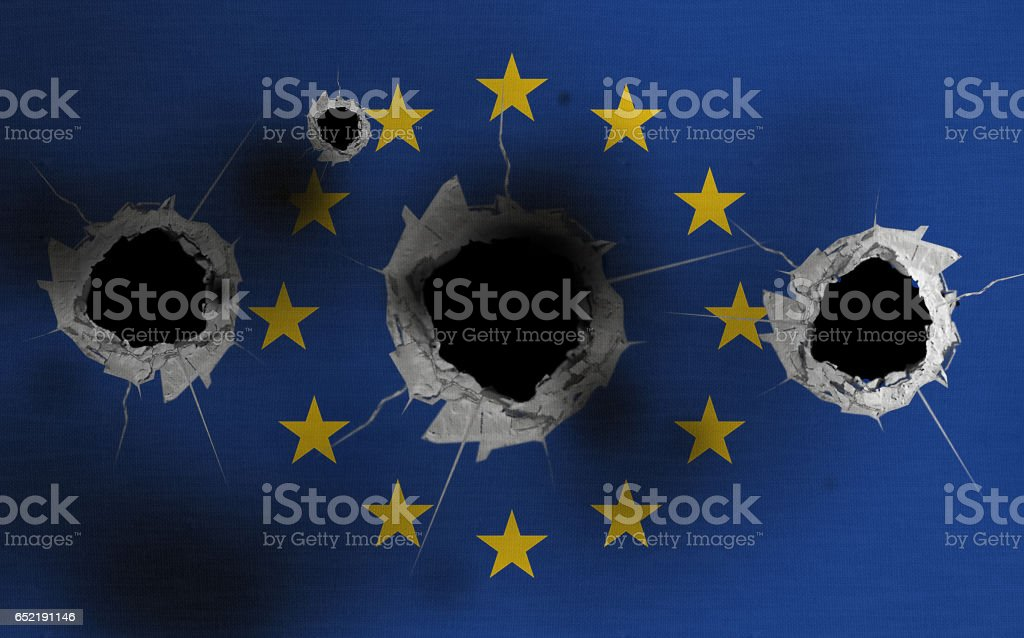 European flag with bullets holes stock photo