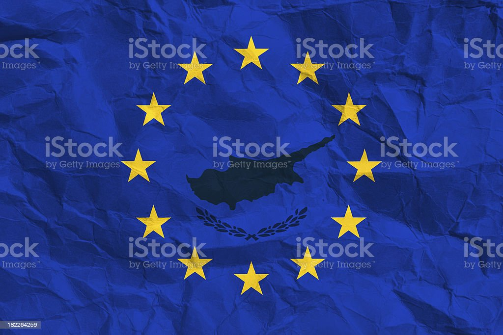 European flag with the pattern of cyprus stock photo