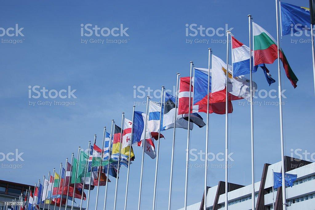 European flaggs & parliament royalty-free stock photo