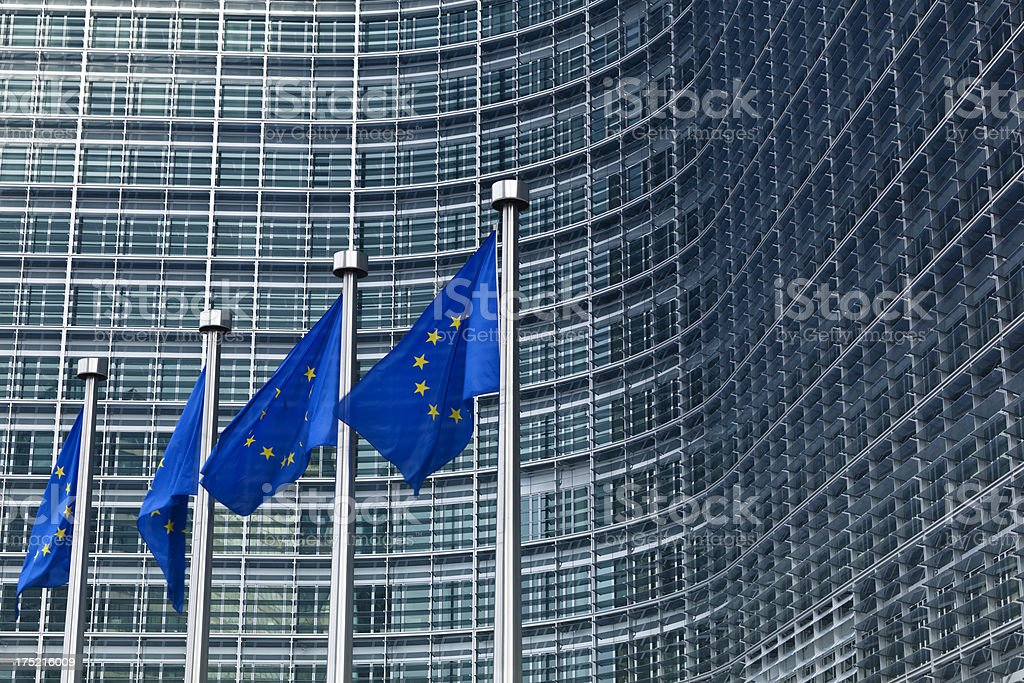 european flags in brussels royalty-free stock photo