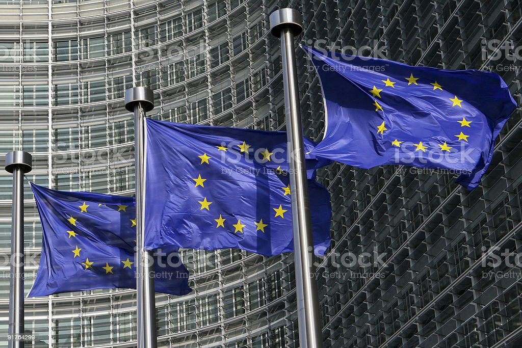 European flags in Brussels stock photo