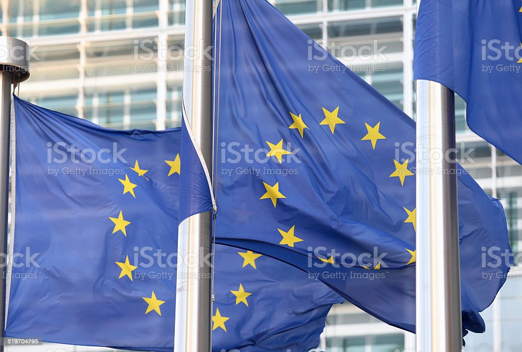 European flags in front  the Berlaymont building stock photo
