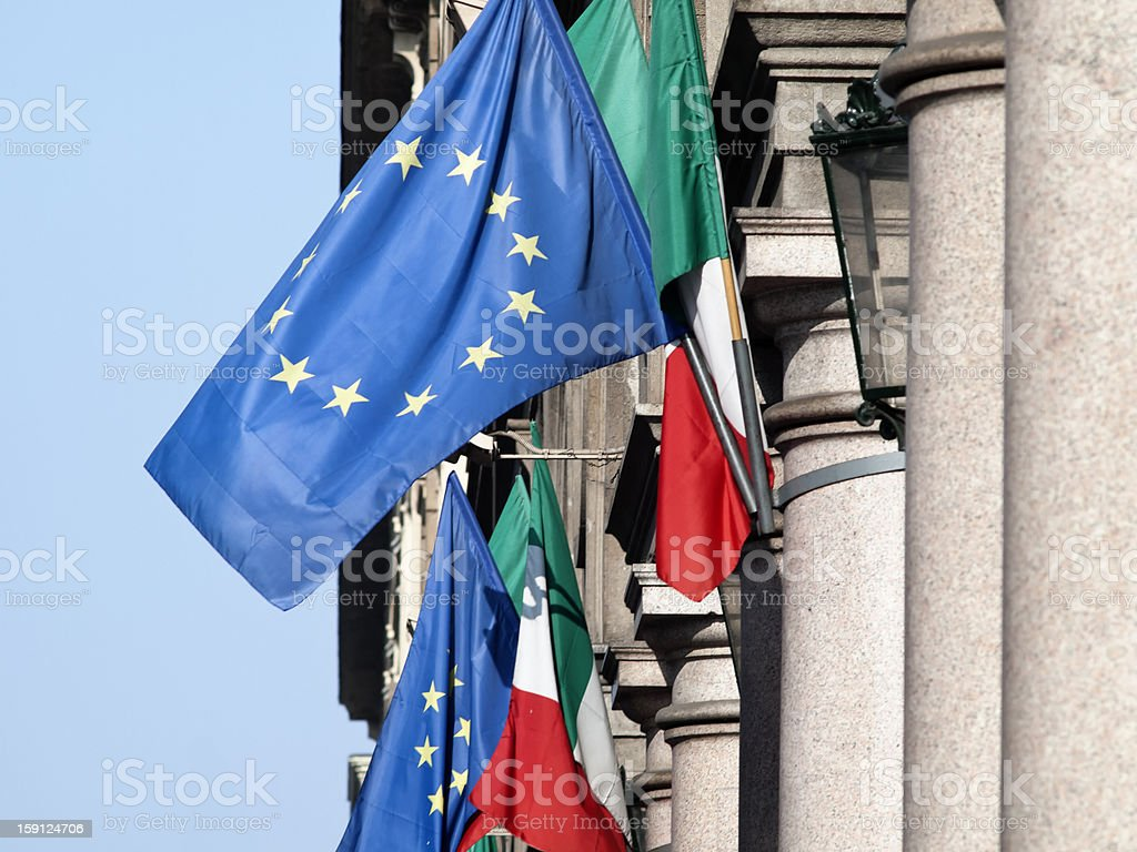 European flags in Italy royalty-free stock photo
