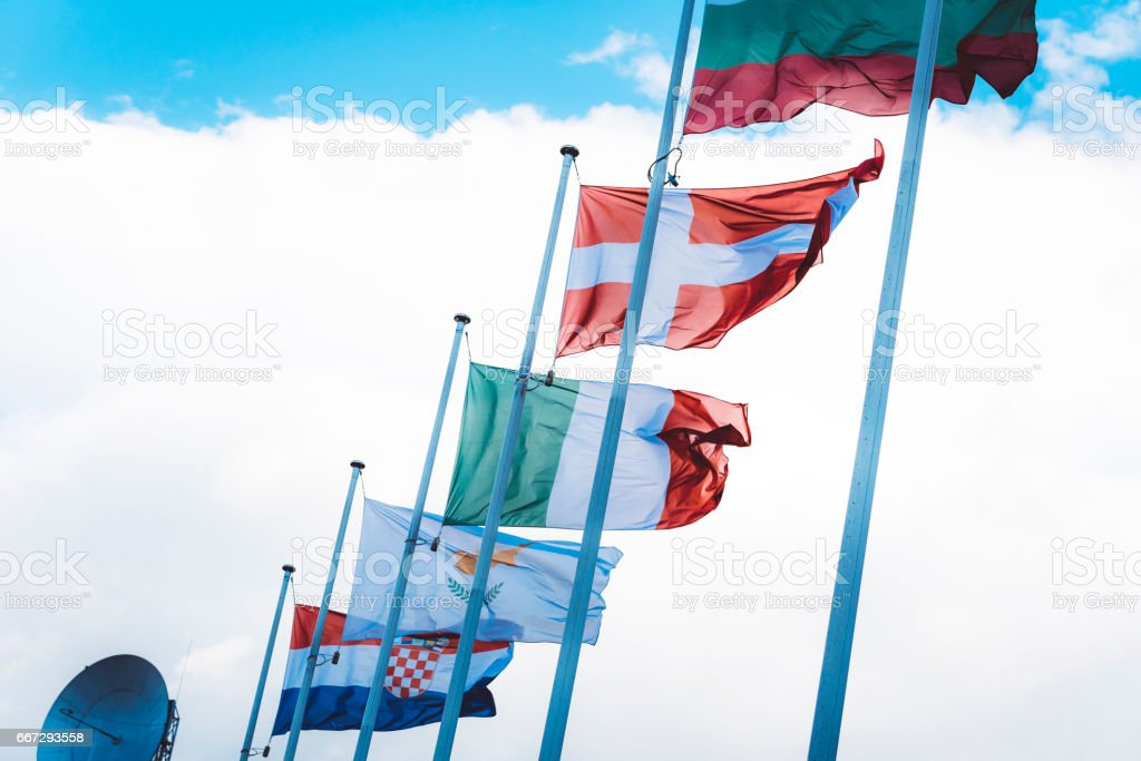 European Flags In Wind stock photo