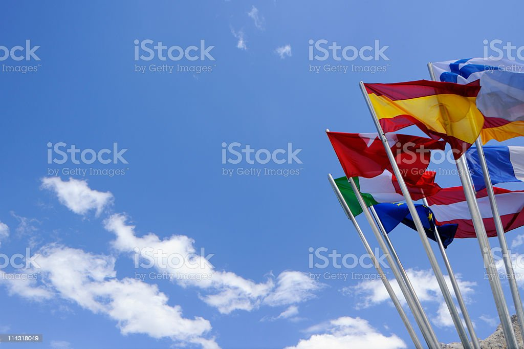 European Flags on Blue Sky Background royalty-free stock photo