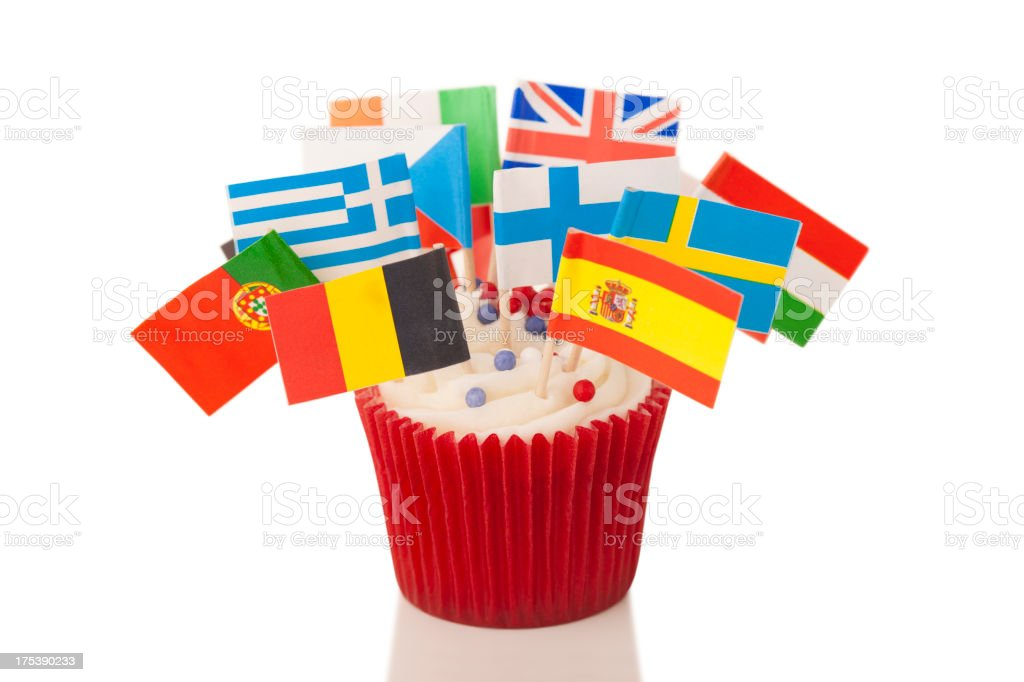 European flags on cup cake royalty-free stock photo
