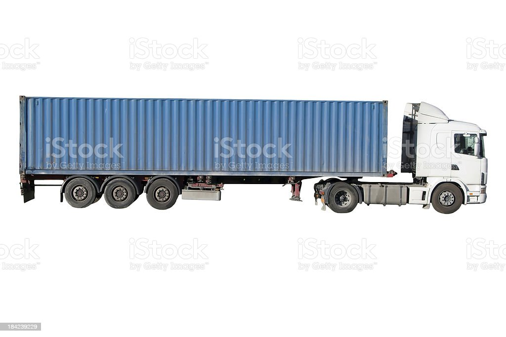 European flatbed 18-wheeler with metal container stock photo